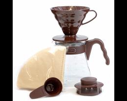 HARIO V60 陶瓷滴餾壼套裝 (啡色)