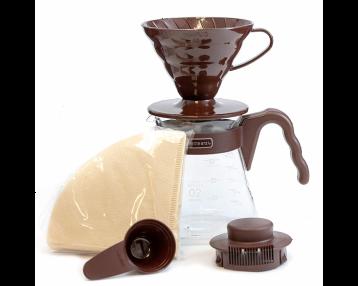 HARIO V60 Ceramic Dripper & Pot Set - Brown