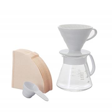 HARIO V60 Ceramic Dripper & Pot Set - White