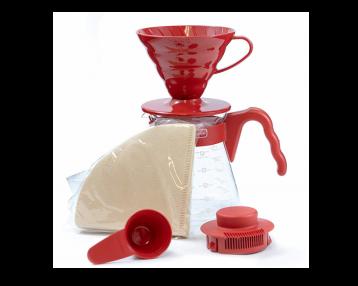 HARIO V60 Ceramic Dripper & Pot Set - Red